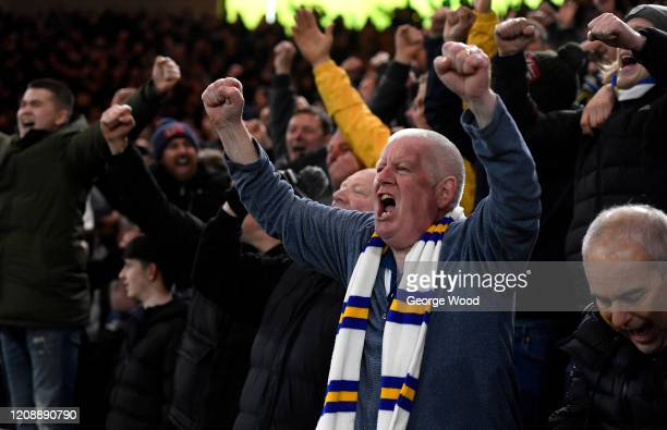 Leeds United fans celebrate following their team's victory in the Sky Bet Championship match between Middlesbrough and Leeds United at Riverside...