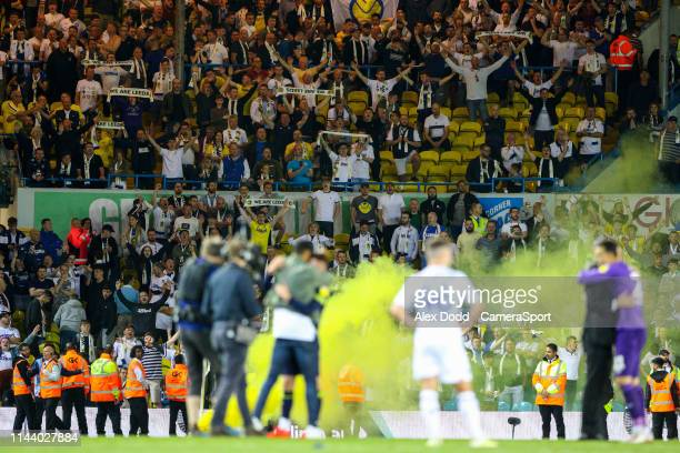 Leeds United fans cheer their side after the final whistle during the Sky Bet Championship Playoff Second Leg match between Leeds United and Derby...