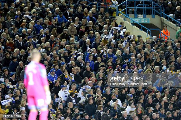 Leeds United fans enjoy the second half action during the Sky Bet Championship match between Leeds United and West Bromwich Albion at Elland Road on...