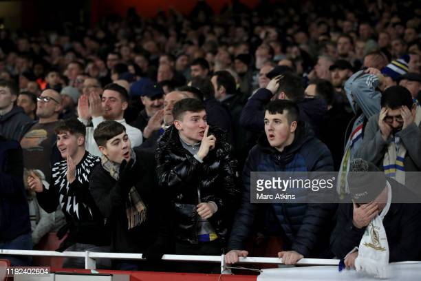 Leeds United fans look on during the FA Cup Third Round match between Arsenal and Leeds United at Emirates Stadium on January 6 2020 in London England