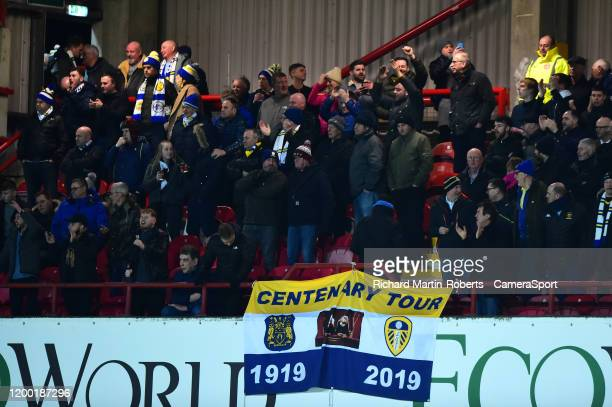 Leeds United fans look on during the Sky Bet Championship match between Brentford and Leeds United at Griffin Park on February 11 2020 in Brentford...