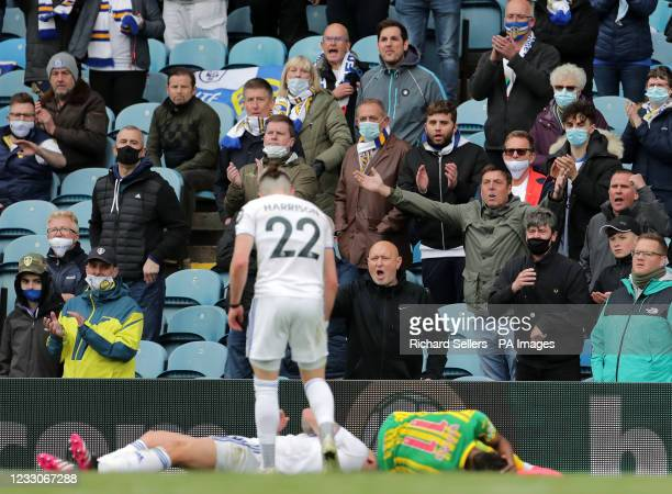 Leeds United fans react after Kalvin Phillips picks up an injury during the Premier League match at Elland Road, Leeds. Picture date: Sunday May 23,...