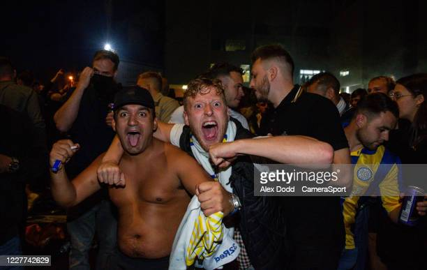 Leeds United fans react outside Elland Road during the Sky Bet Championship match between Leeds United and Charlton Athletic at Elland Road on July...