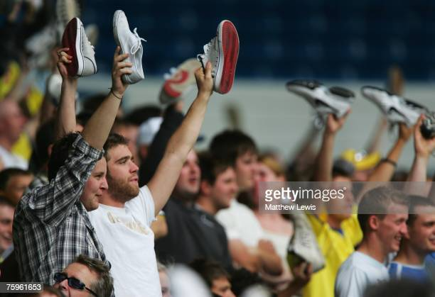 Leeds United fans show their fellings to Ken Bates during the PreSeason Friendly match between Leeds United and Wigan Athletic at Elland Road on...