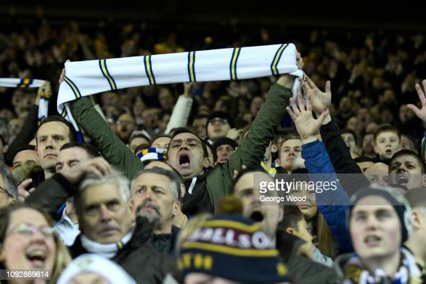 Leeds United fans show their support during the Sky Bet Championship match between Leeds United and Derby County at Elland Road on January 11 2019 in...