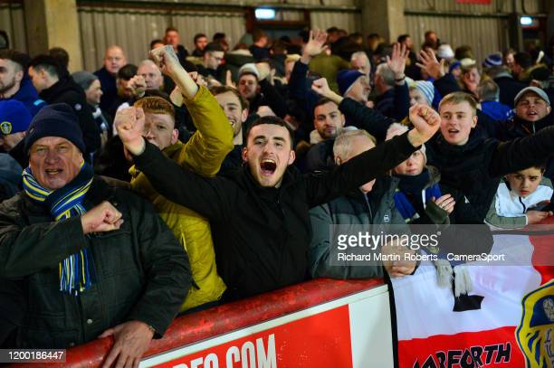 Leeds United fans show their support during the Sky Bet Championship match between Brentford and Leeds United at Griffin Park on February 11 2020 in...