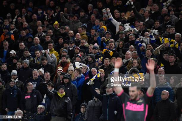 Leeds United fans show their support during the Sky Bet Championship match between Middlesbrough and Leeds United at Riverside Stadium on February...