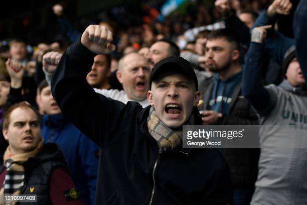 Leeds United fans show their support during the Sky Bet Championship match between Leeds United and Huddersfield Town at Elland Road on March 07 2020...