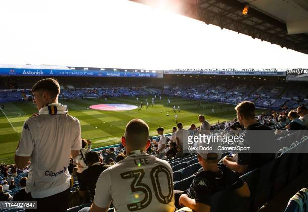 Leeds United fans take their seats during the Sky Bet Championship Playoff Second Leg match between Leeds United and Derby County at Elland Road on...
