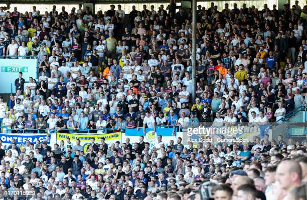 Leeds United fans watch on during the Sky Bet Championship match between Leeds United and Derby County at Elland Road on September 21 2019 in Leeds...