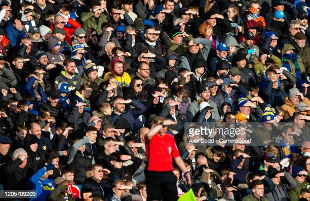 Leeds United fans watch on during the Sky Bet Championship match between Leeds United and Huddersfield Town at Elland Road on March 7 2020 in Leeds...