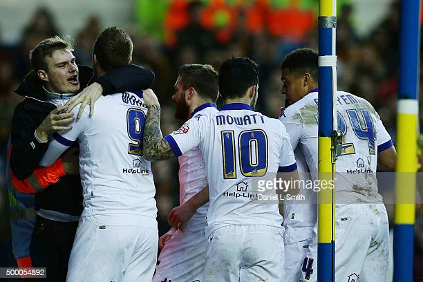 Leeds United FC celebrate after Chris Wood's opening goal during the Sky Bet Championship League match between Leeds United FC and Hull City FC on...