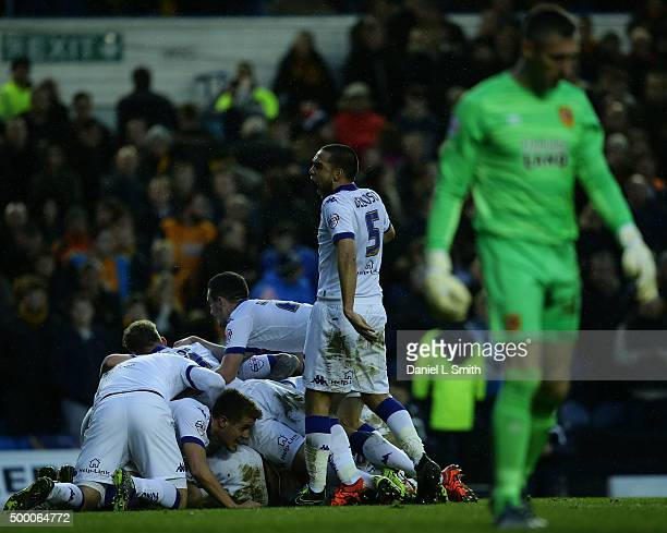 Leeds United FC celebrate after Tom Adeyemi scores a goal as Hull City FC goal Keeper Allan McGregor looks defeated during the Sky Bet Championship...