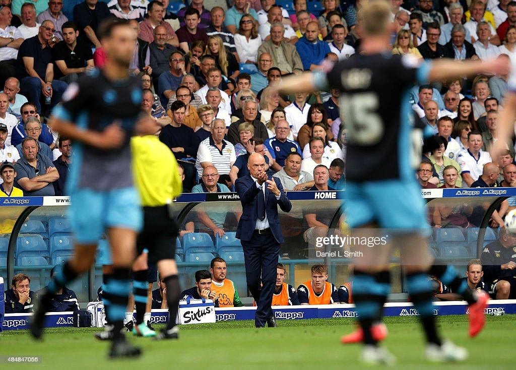 Leeds United FC head coach, Uwe Rosler commincates to players on the field during the Sky Bet Championship match between Leeds United and Sheffield Wednesday at Elland Road on August 22, 2015 in Leeds, England.