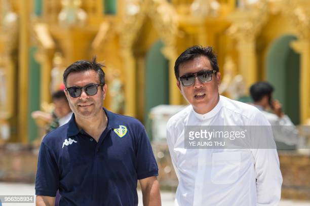 Leeds United FC owner Andrea Radrizzani accompanied by Myanmar Football Federation Chairman Zaw Zaw and team members visits Yangon's landmark...