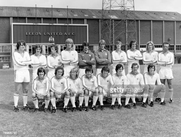 Football July 1977 Leeds United FC Photocall The Leeds squad pose together for a group photograph Back Row LR Ray Hankin Carl Harris Trevor Cherry...