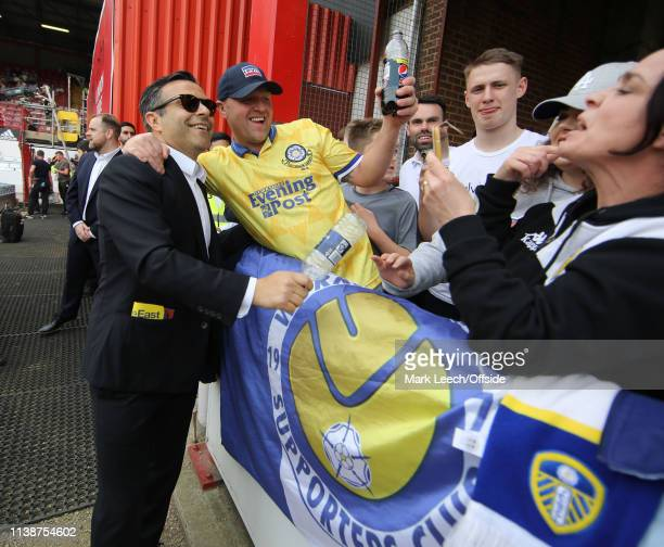 Leeds United football club owner Andrea Radrizzani meets the fans before the match at Griffin Park the Sky Bet Championship match between Brentford...