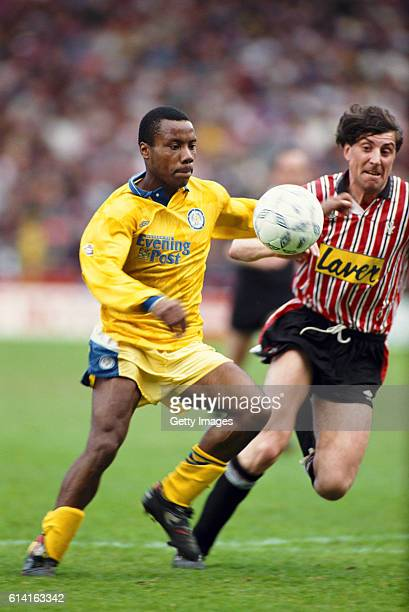 Leeds United forward Rod Wallace beats Sheffield United defender Paul Beesley to the ball during a League Divsion One match at Bramall Lane on April...