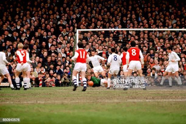 Leeds United goalkeeper Gary Sprake saves watched by Peter Lorimer Ian Ure Paul Madeley George Armstrong Paul Reaney Mick Bates Frank McLintock Jon...