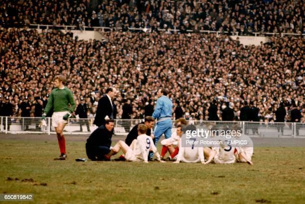 Leeds United goalkeeper Gary Sprake stands alone as the rest of the Leeds team Mick Jones Billy Bremner Paul Madeley Peter Lorimer Jack Charlton...