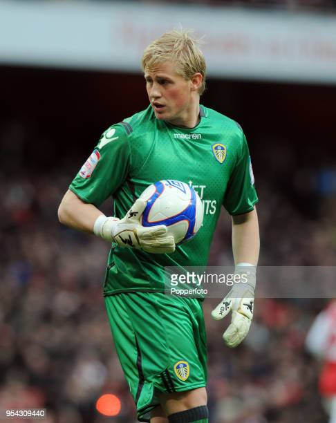 Leeds United goalkeeper Kasper Schmeichel during the FA Cup sponsored by EON 3rd Round match between Arsenal and Leeds United at Emirates Stadium on...