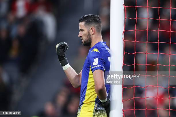 Leeds United goalkeeper Kiko Casilla gestures to team mates during the match between the Western Sydney Wanderers and Leeds United at Bankwest...