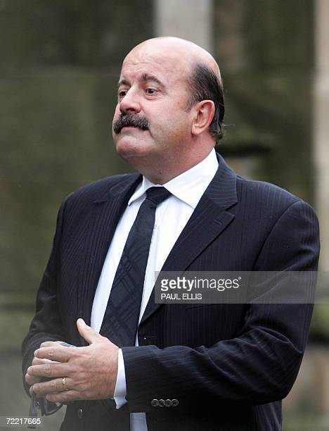 Leeds, UNITED KINGDOM: British snooker player Willy Thorne arrives at the funeral of snooker player Paul Hunter at Leeds Parish Church, in Leeds,...