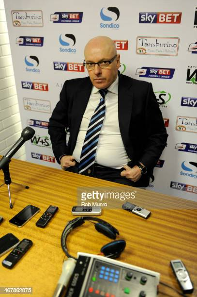 Leeds United Manager Brian McDermott speaks to the press after the Sky Bet Championship match between Yeovil Town and Leeds United at Huish Park on...