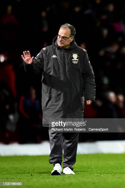 Leeds United manager Marcelo Bielsa acknowledges the fans at the end of the match during the Sky Bet Championship match between Brentford and Leeds...