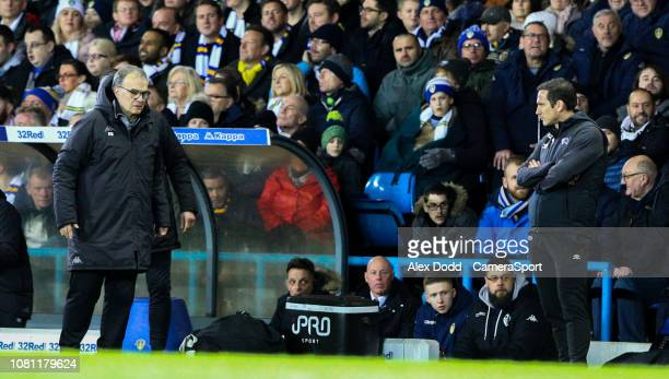 Leeds United manager Marcelo Bielsa and Derby County manager Frank Lampard watch on during the second half during the Sky Bet Championship match...