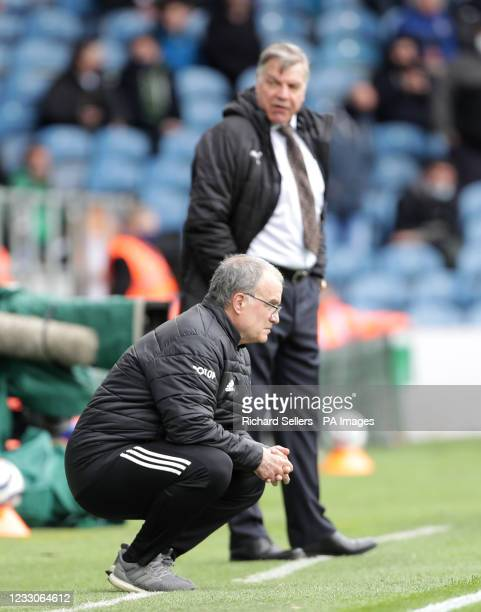 Leeds United manager Marcelo Bielsa and West Bromwich Albion manager Sam Allardyce on the touchline during the Premier League match at Elland Road,...