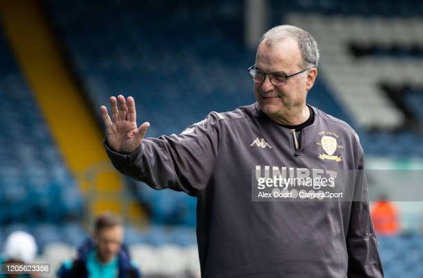 Leeds United manager Marcelo Bielsa arrives at Elland Road during the Sky Bet Championship match between Leeds United and Huddersfield Town at Elland...