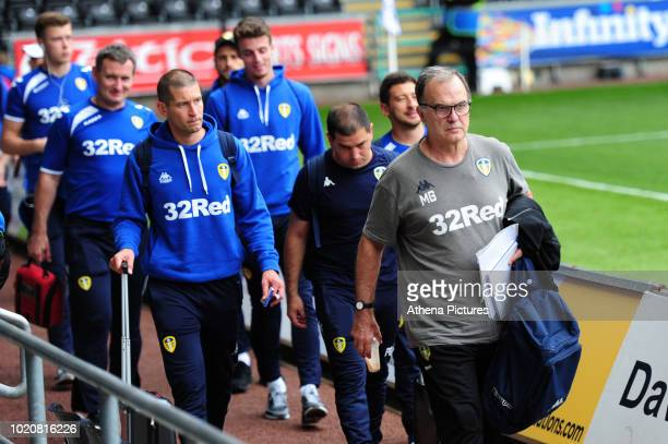 Pablo Hernandez of Leeds United arrives for the Sky Bet Championship match between Swansea City and Leeds United at the Liberty Stadium on August 21...