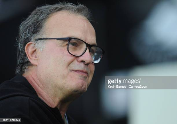 Leeds United manager Marcelo Bielsa during the Sky Bet Championship match between City and Leeds United at Liberty Stadium on August 21 2018 in...