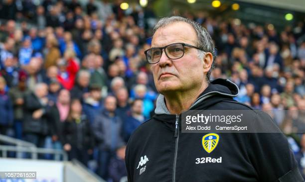 Leeds United manager Marcelo Bielsa during the Sky Bet Championship match between Wigan Athletic and Leeds United at DW Stadium on November 4 2018 in...