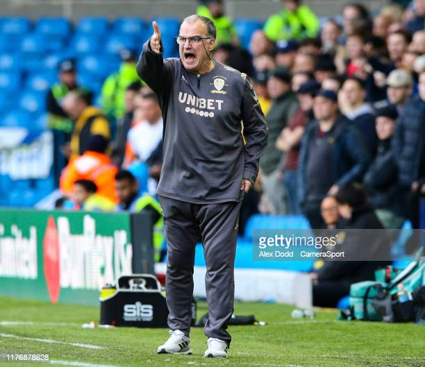 Leeds United manager Marcelo Bielsa gestures during the Sky Bet Championship match between Leeds United and Birmingham City at Elland Road on October...