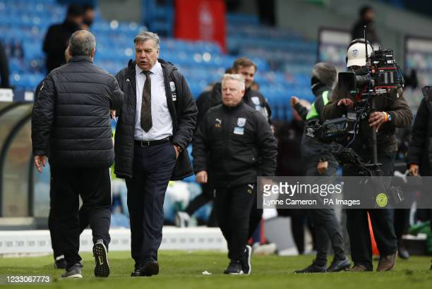 Leeds United manager Marcelo Bielsa greets West Bromwich Albion manager Sam Allardyce after the final whistle during the Premier League match at...