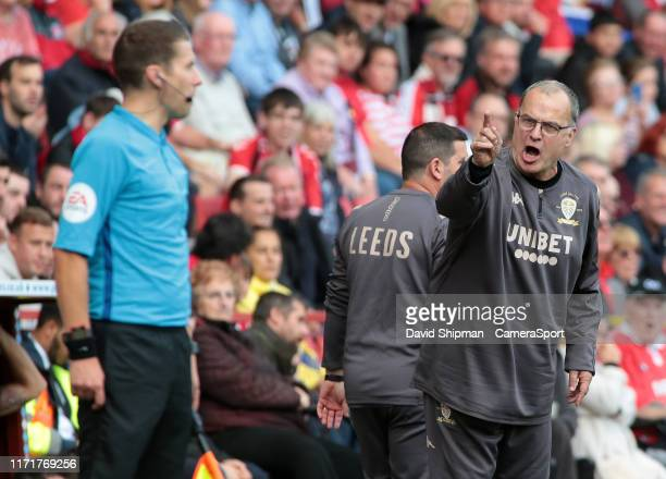 Leeds United manager Marcelo Bielsa is furious with the linesman after a decision goes against his side during the Sky Bet Championship match between...