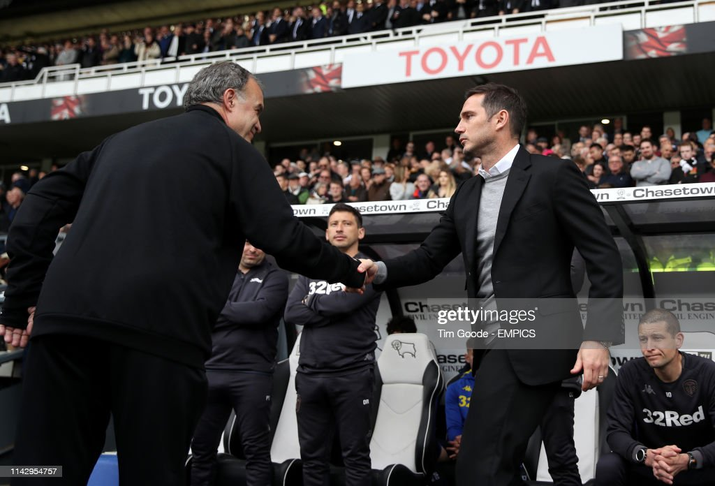 Derby County v Leeds United - Sky Bet Championship Play-off - Semi Final - First Leg - Pride Park : News Photo