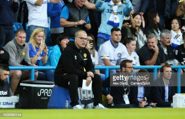 Leeds United manager Marcelo Bielsa takes his bucket seat as the match kicks off during the Sky Bet Championship match between Leeds United and...