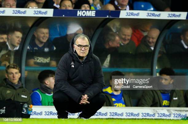 Leeds United manager Marcelo Bielsa watches on during the first half during the Sky Bet Championship match between Leeds United and Derby County at...