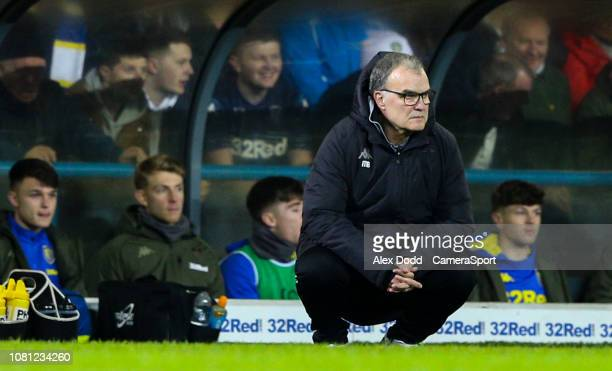 Leeds United manager Marcelo Bielsa watches on during the Sky Bet Championship match between Leeds United and Derby County at Elland Road on January...