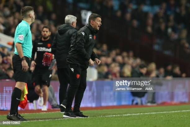 Leeds United manager Paul Heckingbottom during the Sky Bet Championship match between Aston Villa and Leeds United at Villa Park on April 13 2018 in...