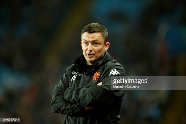 Leeds United manager Paul Heckingbottom looks on during the Sky Bet Championship match between Aston Villa and Leeds United at Villa Park on April 13...