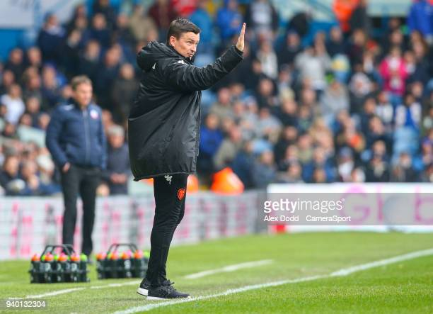 Leeds United manager Paul Heckingbottom shouts instructions to his team from the technical area during the Sky Bet Championship match between Leeds...
