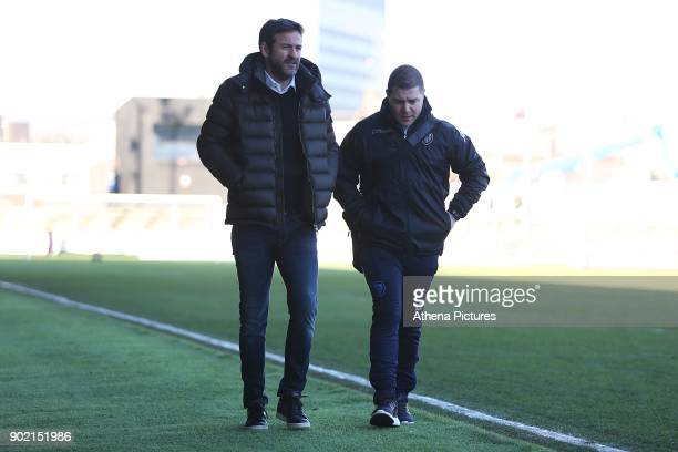 Leeds United manager Thomas Christiansen arrives at Rodney Parade prior to kick off of the Fly Emirates FA Cup Third Round match between Newport...
