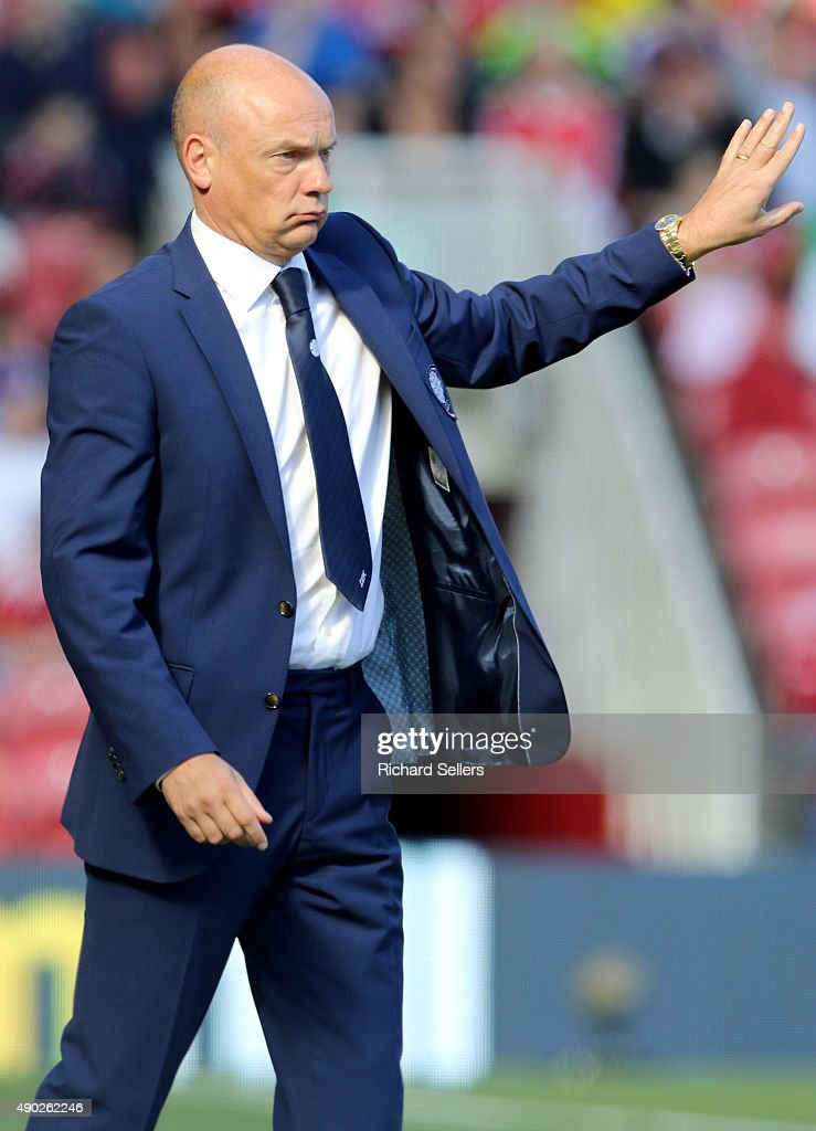 Leeds United manager Uwe Rosler during the Sky Bet Championship match between Middlesbrough and Leeds United at the Riverside on September 27, 2015 in Middlesbrough, England.
