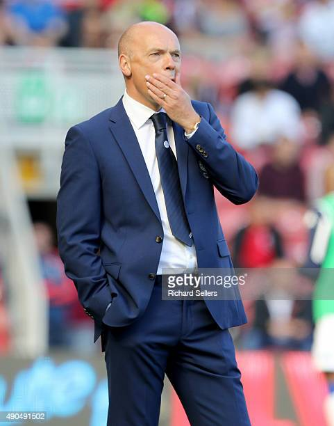 Leeds United manager Uwe Rosler looks bemused during the Sky Bet Championship match between Middlesbrough and Leeds United at the Riverside on...