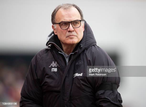 Leeds United manger Marcelo Bielsa during the Sky Bet Championship match between Stoke City and Leeds United at Bet365 Stadium on January 19 2019 in...