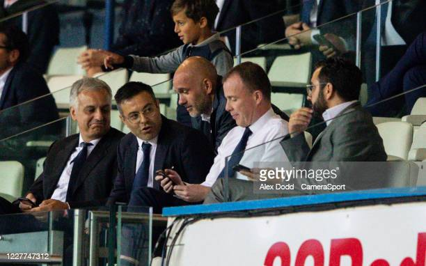 Leeds United owner Andra Radrizzani chats with chief executive Angus Kinnear and director of football Victor Orta during the Sky Bet Championship...
